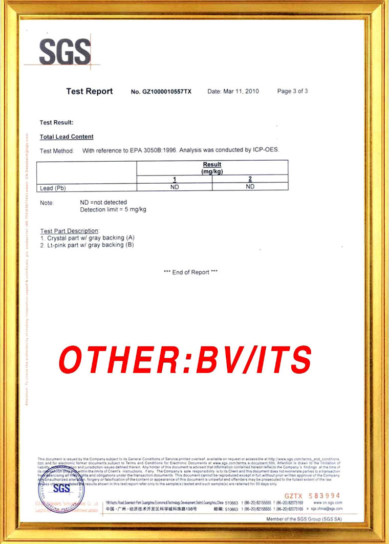SGS Test report of lead free rhinestones