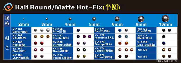 hotfix half ball color chart