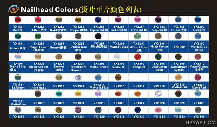 iron on nailheads color chart