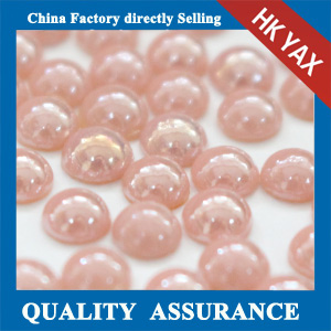 Hot-fix ceramic rhinestone half round pearl