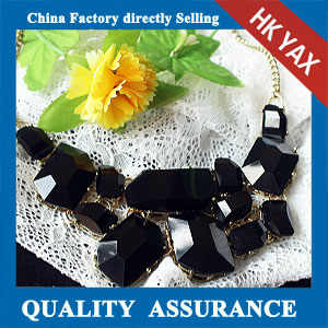 N154 black resin stone necklace china supply cheap