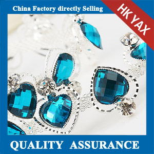 M207 blue heart resin rhinestone trimming