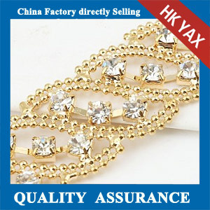 M211 gold plated rhinestone chaining