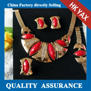 N019 ruby resin stone necklace set