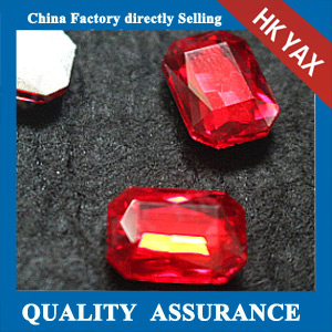 high quality red rectangle glass chaton
