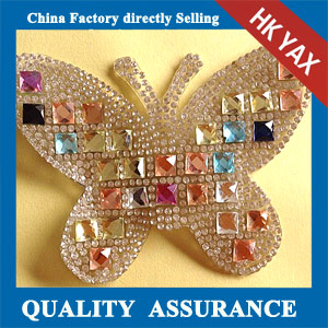 Yax-B019 Butterfly shape rhinestone patches
