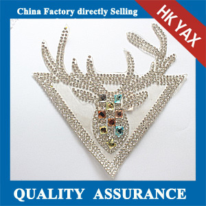 Yax-C014 Deer head rhinestone patches