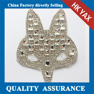 Yax-C023 Fox head shape rhinestone patches