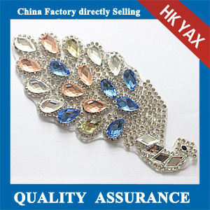 Yax-C037 peacock shape rhinestone patches